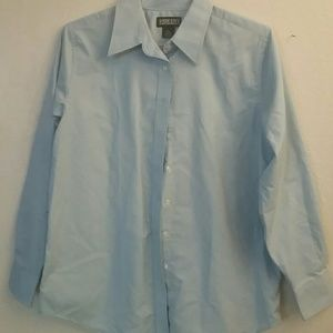 Lands end collared long sleeved blue shirt
